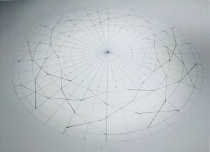 This is the 'bones' of the geometry of this formation. The circle is divided in to 36 sections and 27 crosses are added that will eventually define the star shapes.