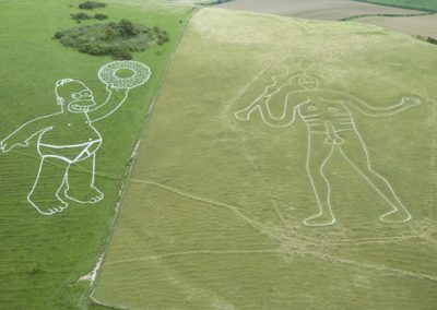 Cerne Abbas Giant & Homer Simpson! Taken for the promotion of the Simpsons Movie! Image by Steve Alexander