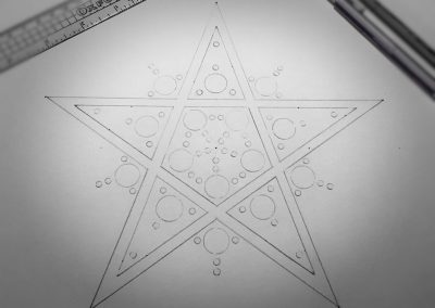 Broad Hinton (2) 2017 | Pencil Line of pentagram star with small circles added