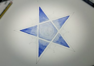 Broad Hinton (2) 2017 | Pencil Line of pentagram star with ultramarine watercolour added