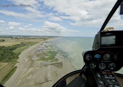 Climping Beach Helicopter shot looking towards Littlehampton