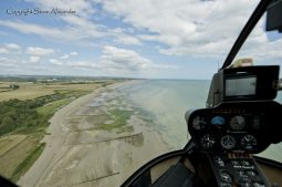View from the helicopter along Climping Beach
