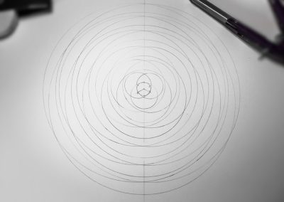 Winterbourne Bassett, Wilts | 14th July 2018 | First pencil outline - showing the intersecting circles
