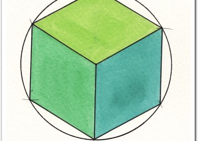 The hexagram as a cube | Drawing by Karen Alexander